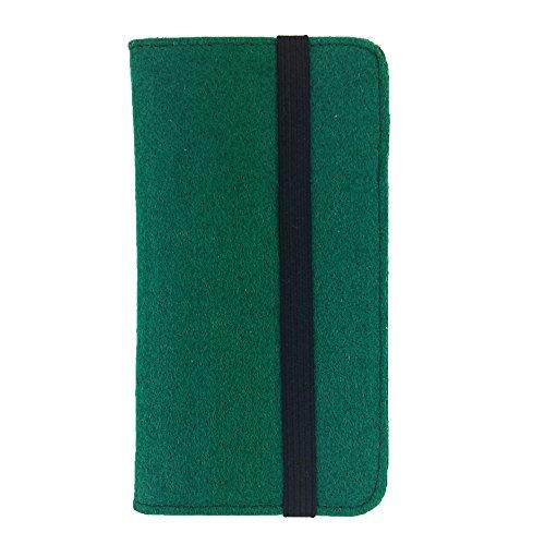 handy-point Universell Organizer für Smartphone Tasche aus Filz Filztasche Filzhülle Hülle Schutzhülle mit Kartenfach für Samsung, iPhone, Huawei (Bis 5,2 Zoll max 14,7x7,3cm, Grün dunkel)