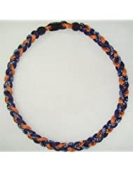 18 Inch Titanium Tornado Baseball Necklace Orange/Blue by PowerSport