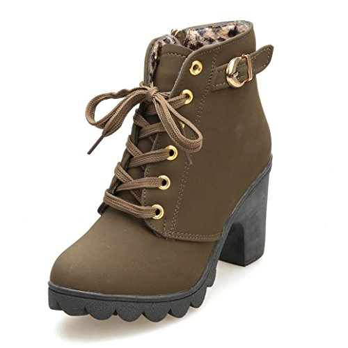 NEU Damen Stiefel Bovvake Womens Fashion High Heel Lace Up Ankle Boots Ladies Buckle Platform Shoes (40, Army Green) (Boot Platform Ankle Heel)