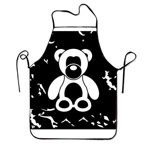 Junzhilin Shop Comfortable Aprons Toy Bear Icon for Server Stitched Edges