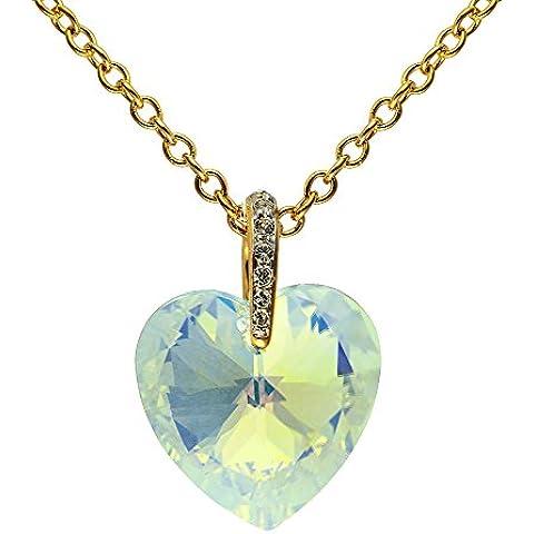Cristalina-Collana placcata oro 18 k con pendente a forma di cuore in cristallo Swarovski Aurora Borealis, con una pavimentazione Bale 48,5 con catenina di 46 cm