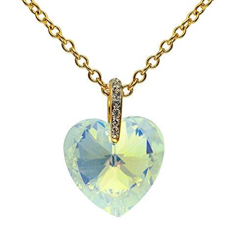 Dancing Girl Kostüm - Cristalina Halskette 18K Vergoldet Aurora Borealis Swarovski Herz Anhänger mit Pavé Bale mit Kette 46-48,5cm