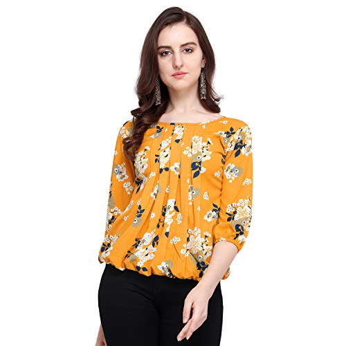 J B Fashion Women's Plain Regular fit Top (Fmania-top-178-M_Yellow_Medium)