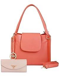 Women Marks Women's Handbag and Wallet (Peach, Combo of 2)
