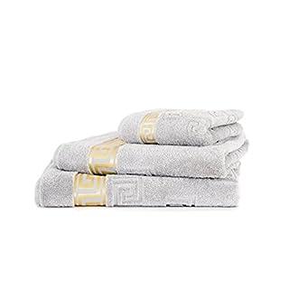 Arle-Living 3 tlg. Luxus Medusa Saunatuch XL, Badetuch und Handtuch Set - Feinste Ringgarn Baumwolle/Jacquard Webung/Hochflor Frottier (Silber/Silver/Argent)