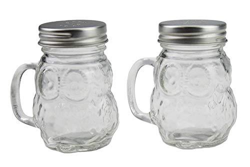 Mason Jar Restaurant (RSW Glas Salz und Pfeffer Shaker Topf-Set Eule Design Mason Jar-mit Griff-Schraube Top)