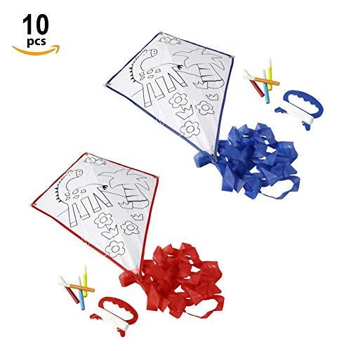Fun Fan Line - Ensemble de 10 Cerfs-Volants à colorier. Idéal pour Les Cadeaux et Les fêtes d'anniversaire pour Enfants. avec des marqueurs de Couleurs Cadeaux!