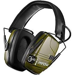 Mpow 094 Casque Anti-Bruit Actif Électronique, Batterie Rechargeable & 30 Heures de Lecture, Casque Antibruit SNR 26dB à de Réduction Intelligente du Bruit, Sonore Stéréo pour Tir Chasse Soudage-Vert