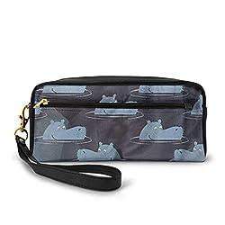 Nilpferd Design Leinwand Make-up Tasche Handtasche Handtasche Organizer mit Reißverschluss