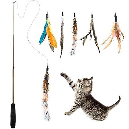 WolinTek Interaktives Katzenspielzeug, Katzenspielzeug Einziehbare Natürliche Federstab Katze Spielzeug mit 5 Stück…