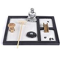 Excellent112 Zen - Adornos para meditación de Arena, Base de Madera, diseño de Buda Blanco, Resina de Arena, decoración de jardín con diseño de Tai Ji Chino – Soportes para Velas