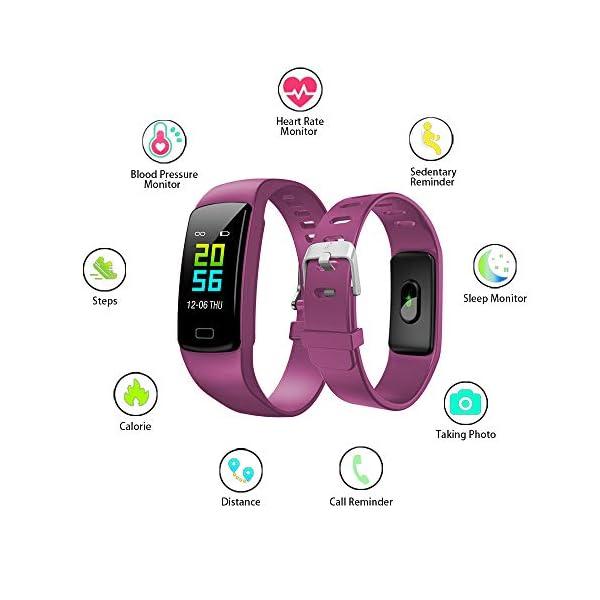 Pulsera de Actividad Inteligente Impermeable IP67 con 8 Modos de Deporte,Pulsera Inteligente con Pulsómetro, Blood Pressure, Sueño,Podómetro,Pulsera Deporte para Android y iOS Teléfono móvil 16