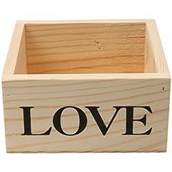 Phenovo Caja De Madera Del Corazón Del Amor DIY Base De Barro Favor Caja De Regalo De Boda Con Flores - Natural, 10 x 10 x 5.2 cm