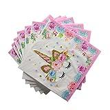 Ruikey 16 Feuilles Serviette en Papier Licorne Fournitures de Fête d'anniversaire...