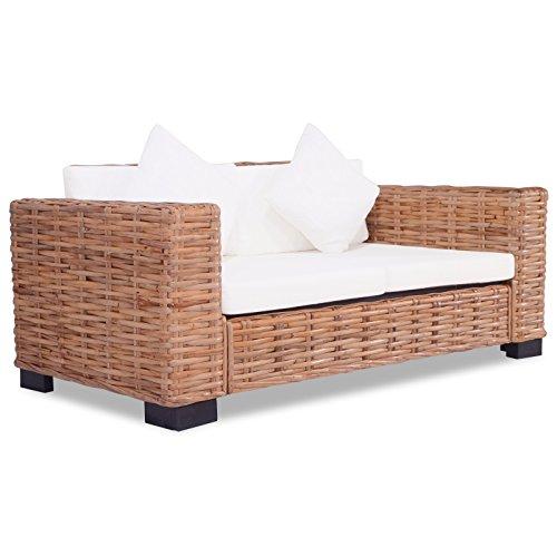 vidaXL Sofa 2-Sitzer Natürliches Rattan Sessel Loungesofa Rattansofa Couch