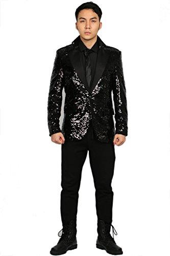 Herren Glänzend Schwarz Voller Anzug Uniform Outfit Cosplay Kostüm Kleidung Erwachsene Jacke Verrücktes Kleid (Daft Punk Helm Kostüme)