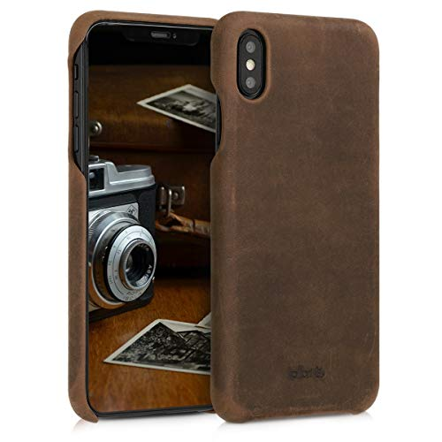 kalibri Custodia in Vera Pelle per iPhone XS Max - Back Cover Protettiva Case Posteriore per Apple iPhone XS Max