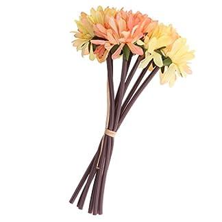 MagiDeal 7pcs Flores de Crisantemo Artificial Rama de Flores para Decoración de Boda de Fiesta de Cumpleaños de Hogar Vibrante de Color – Amarillo y Verde