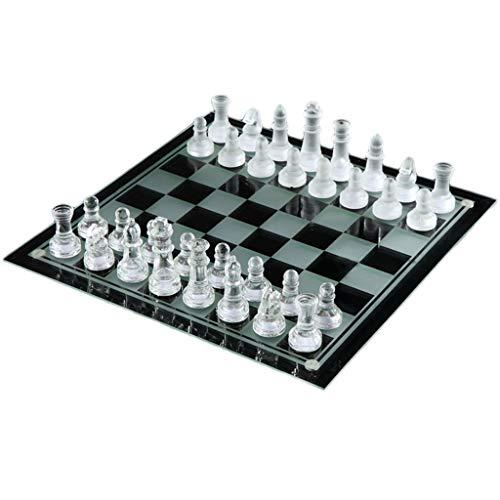 LOFAMI Traditionelle Spiele Schach Elegante K9 Kristallglas Schach Wrestling Verpackung Schachspiel International Checkers Chess Set Brettspiel Schach Schach (Color : Clear, Größe : 25 * 25cm) -