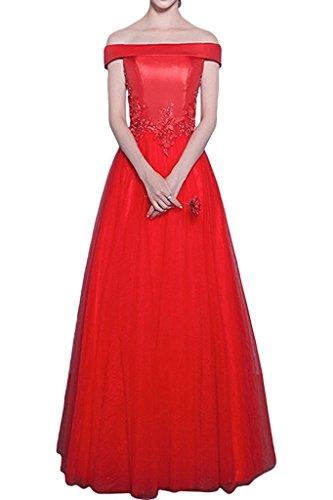 Ysmo Frauen aus Schulter Tüll Satin Prom Kleid Appliques Abendkleider Rot