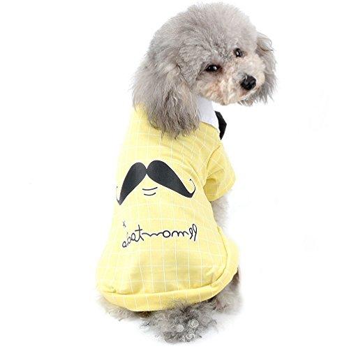 SELMAI New 2018Pet Plaid T Shirt Weste für kleine Hunde Boy Soft Tee Schleife Shirt Sommer Puppy Kleidung (nur für kleine Haustiere) (Pet-soft-schleife)