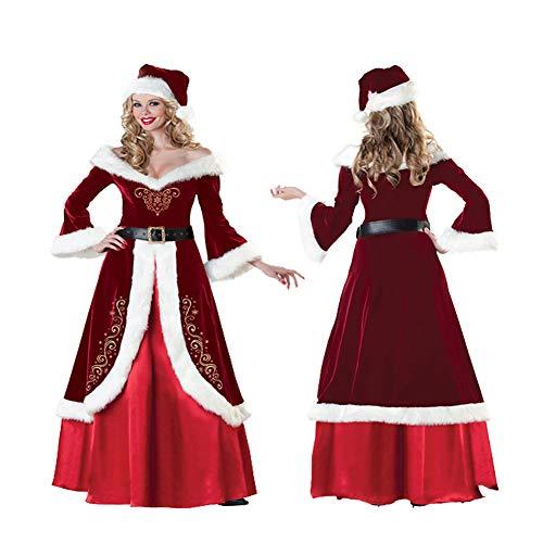 shuhong Weihnachtskleidung Herren/Damen Deluxe Velour Santa Anzug, Damen Weihnachtsmann, Weihnachten, Warmhalten 10-teiliges Kostüm, M-4XL,B-M