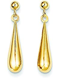 14ct Yellow Gold Tear Drop Dangle Earrings - Measures 21x4mm