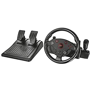 Trust 20293 GXT 288 Gaming Steering Wheel with Pedals and Vibration Feedback for PC and PS3, Black
