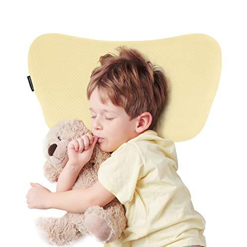 Bammax Babykissen, Kinder Kopfkissen gegen Plattkopf Memory Schaum Kinder Kissen, Weiches Atmungsaktives Baby Kopfkissen für 2-8 Jahre Alt Kleinkind, Gelb