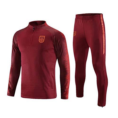 QAZWSX Erwachsene Fußball Anzug Pullover Nationalmannschaft Führer Ärmel Anzug Kleine Füße Hosen Trainingsanzug Trikot -
