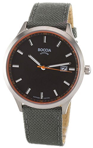 Boccia Herren Analog Quarz Uhr mit Leder Armband 3614-01