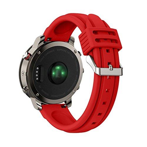 HKFV Garmin Garmin Fenix Chronos Doppel Pit Silikonband Buntes Silikon-Ersatz-Bügel-Zusatz-Armband für Garmin Fenix Chronos Armband Uhrarmband Uhrenarmband Armband Armreif Spange Fußreif (Rot)