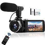 Videokamera Camcorder mit Mikrofon 1080P @ 30FPS Full HD Camcorder Nachtsicht Videokamera 16 facher Digitalzoom 24MP Vlogging Kamera für YouTube mit 2 Batterien und Pausenfunktion