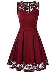 KOJOOIN Damen Elegant Kleider Spitzenkleid Ohne Arm Cocktailkleid Knielang Rockabilly Kleid Rot Bordeaux Weinrot S
