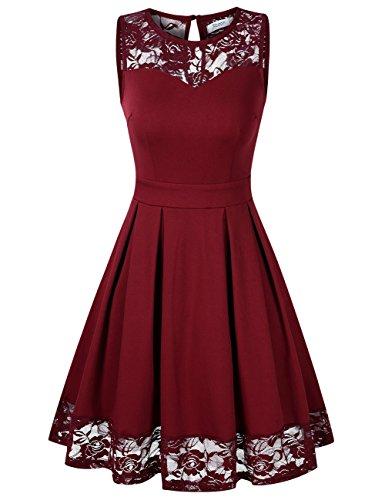 KOJOOIN Damen Elegant Kleider Spitzenkleid Ohne Arm Cocktailkleid Knielang Rockabilly Kleid Rot Bordeaux Weinrot XS