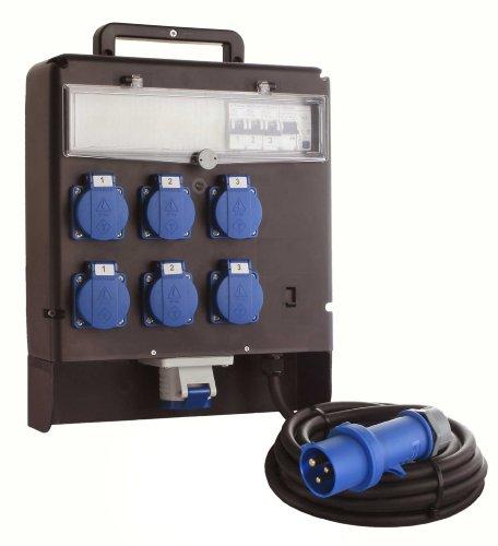 as - Schwabe 60523 Stromverteiler 230V FIXO Marktverteiler, 5m H07RN-F 3G2,5, schwarz, IP44 Gewerbe, Baustelle