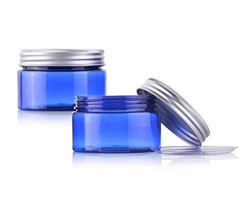 2pcs 50G (1.8oz) 50ml azul Pet Plástico Vacío crema tarros de bo