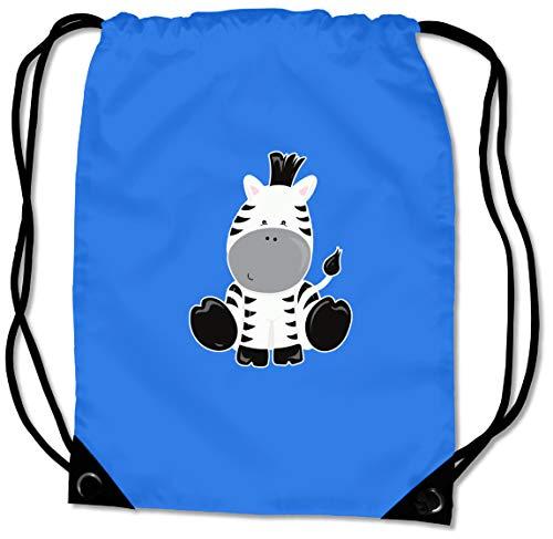 Samunshi® Turnbeutel Süßes Zebra Sportbeutel für Schule Sport Sporttasche BG10 Gymsac 45x34cm Saphir blau/Farbiger Aufdruck