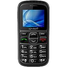 """Sunstech CEL10BK - Móvil de 1.77"""" para personas mayores (altavoz, botón SOS, linterna, FM, SD y base de carga), color negro"""