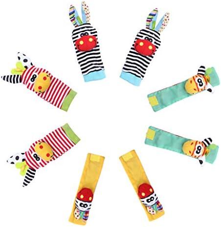 Edealing 2SET Lumineux bébé infantile infantile infantile enfants souple poignet chaussettes pieds Rattle Mains Pieds finder jouets a6d98e