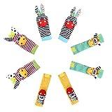 edealing 2SET Helles Baby-Kind-Kind weiche Handgelenk Fußsocken Rattle Hände Foots finder Spielzeug