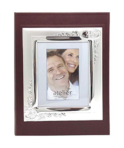 Hochzeitsalbum, Silberbilamin, mit Ehering, 25 x 30 cm 25° Anniversario