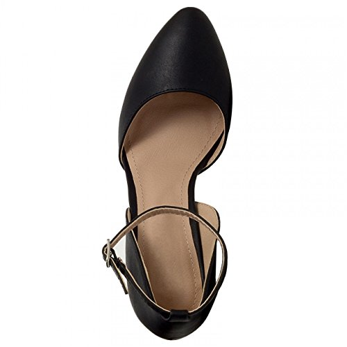 CASPAR - Escarpins à bride pour femme - avec talons hauts et bout pointu - plusieurs coloris - SBU007 Noir