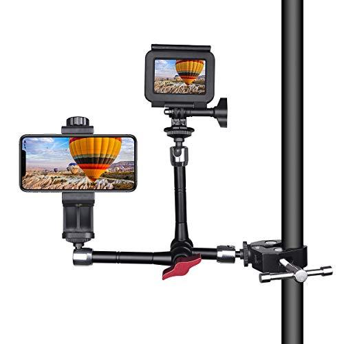 Braccio magico di 2 teste, supporto per fotocamera pieghevole con morsetto a morsetto e adattatore vite filettato 1/4, attacco regolabile compatibile con telefono, fotocamera sportiva, ecc.