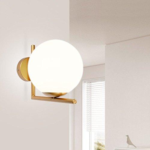Glas Wandleuchte Globen (Qiangzi Wandleuchte Postmodern kreative Wandleuchte Globus Glas Wandleuchte Einfache und warme Schlafzimmer Lichter 25 * 22 cm [Effizienzklasse : A +] Für Loft Hotel für Innenle)