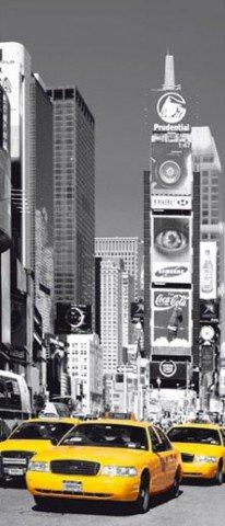 NEW YORK – TIMES SQUARE, Taxi jaune papier peint photo poster de porte (220 x 86 cm)