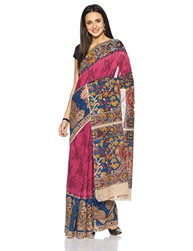 IndusDiva Pochampally Ikat Pure Cotton Handloom Saree (BLR1731003_Pale Red_One Size)