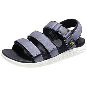 CAMEL CROWN Sandalen Herren Sommer Outdoor Sports Sandale Strandschuhe Männer Casual Leicht Wandersandalen mit Klettverschlüsse, Schwarz Grau