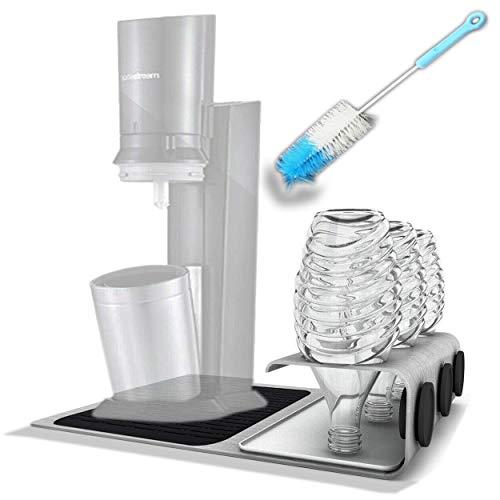 handyprince Abtropfhalter, Station aus Edelstahl für z.B Sodastream Crystal Flaschenhalter Abtropfständer, inklusive Abtropfmatte für Ihr Gerät und die Flaschen, Flaschenbürste, Deckelhalterung