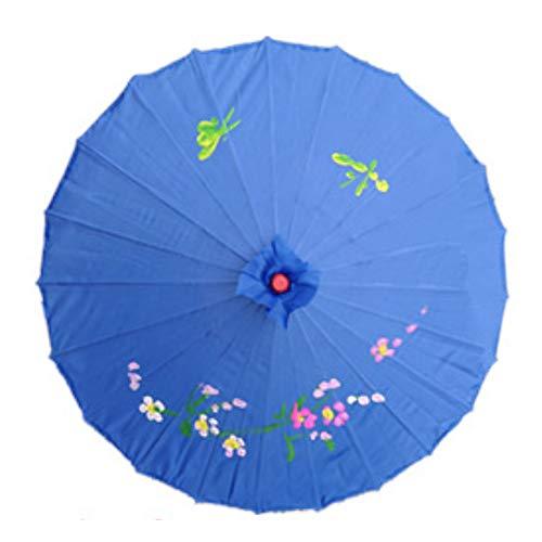 Kostüm Tanz Traditioneller - Öl-Papier-Sonnenschirm, chinesischer traditioneller handgefertigter Stockschirm - Kunst Farbe Öl Papier Regenschirm - für Hochzeiten, Partys, Kostüme, Cosplay-Dekoration Free Size blau